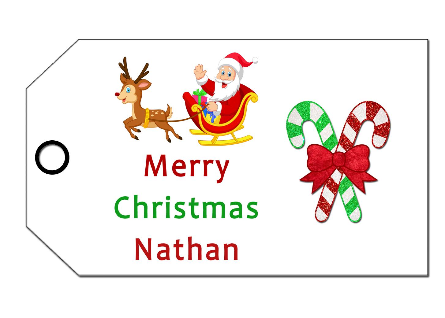 Personalised Baby Gift Tags Uk : Santa reinder personalised gift wrap tags uk only