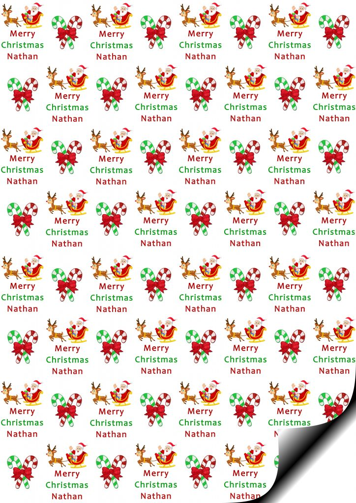 Santa Amp Reinder Personalised Gift Wrap Amp Tags Uk Only