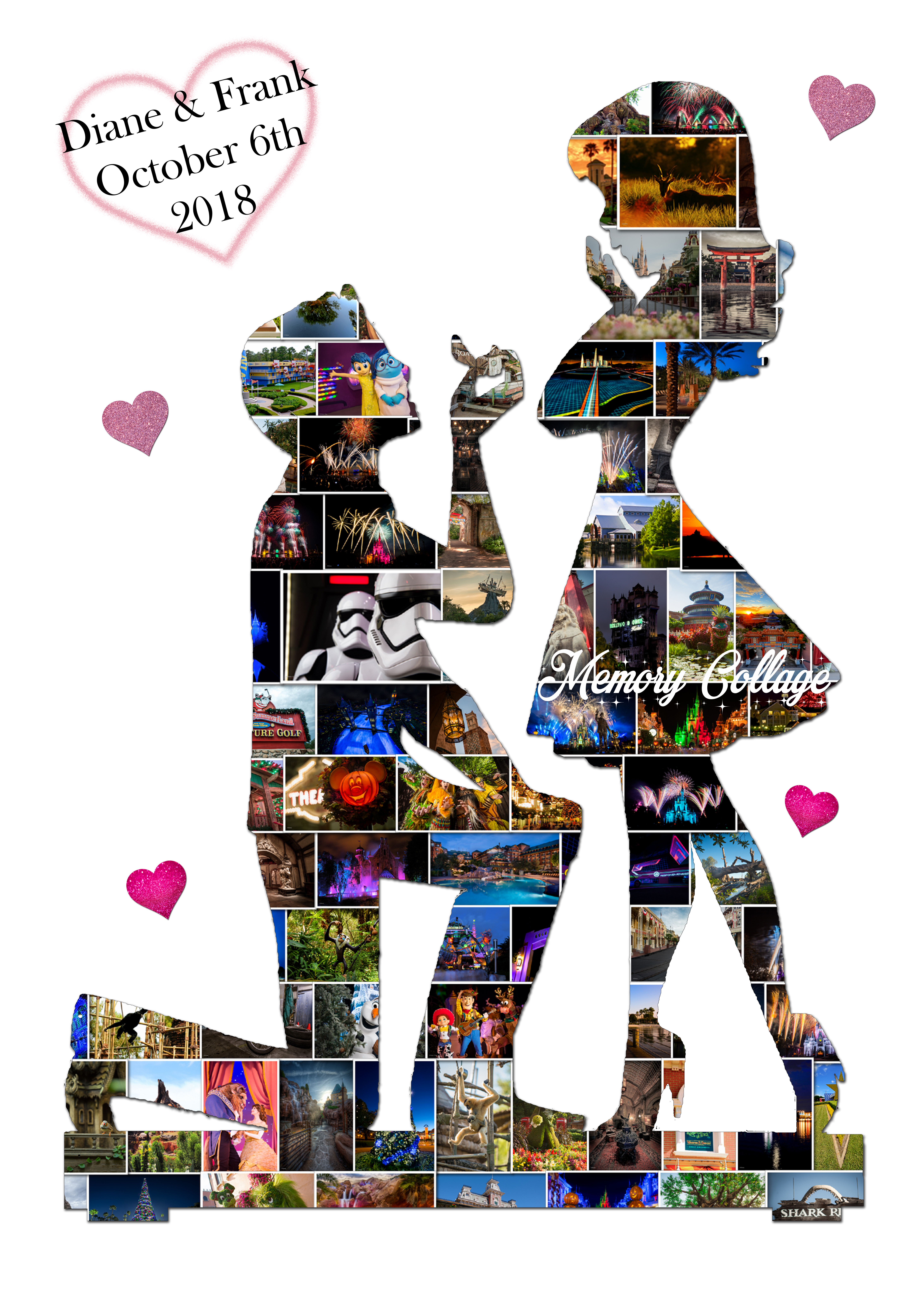 Engagement Couple Photo Collage Memory Collage